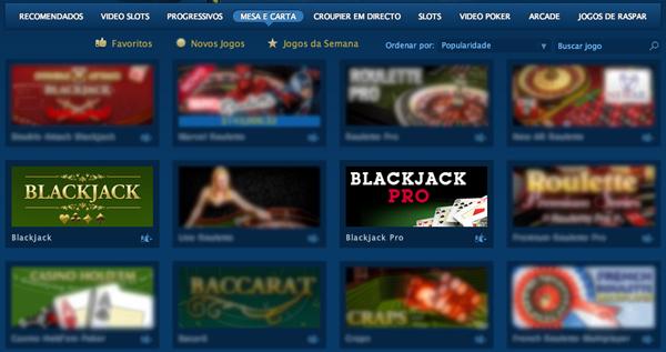 Escolher jogo Blackjack